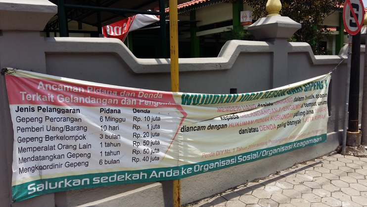 A Banner In Front Of The Social Welfare Office In Yogyakarta, Advising People About Fines