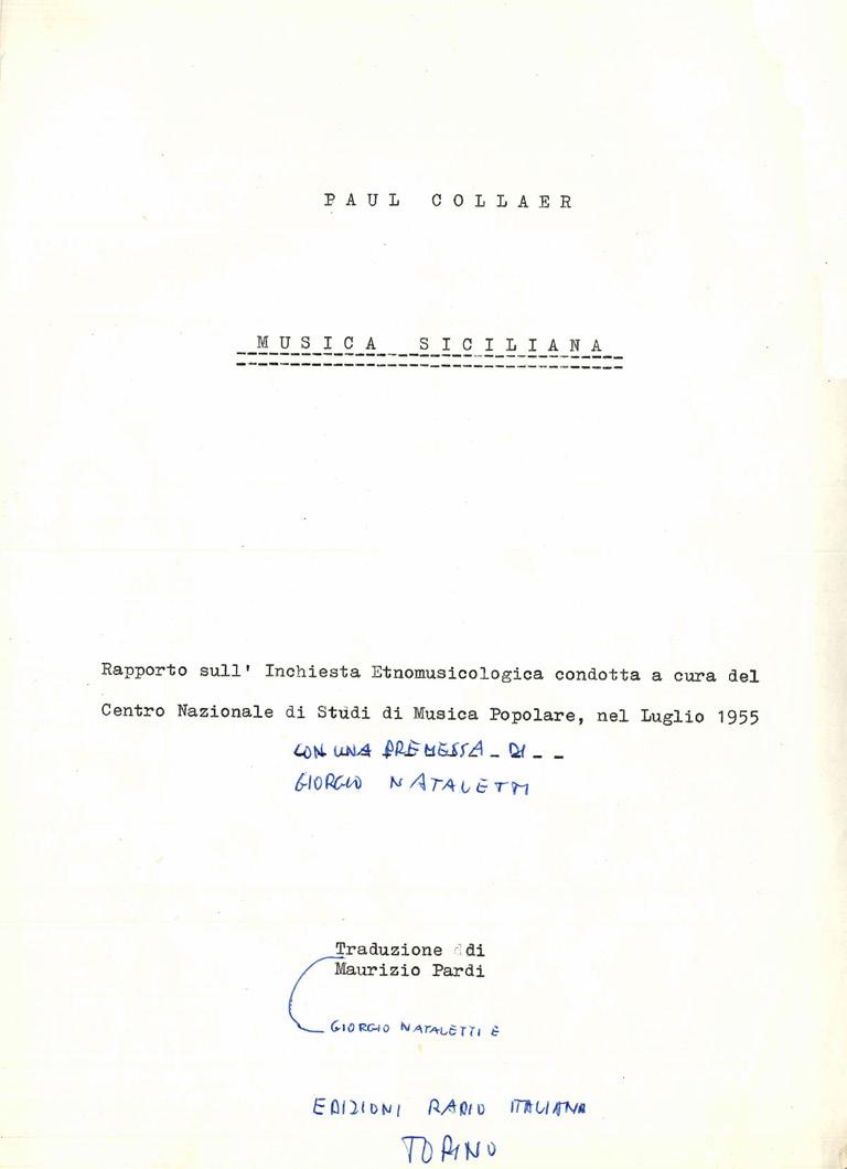 Frontespizio E Prima Pagina Del Dattiloscritto In Italiano Di Paul Collaer Musica Siciliana Pagina 1