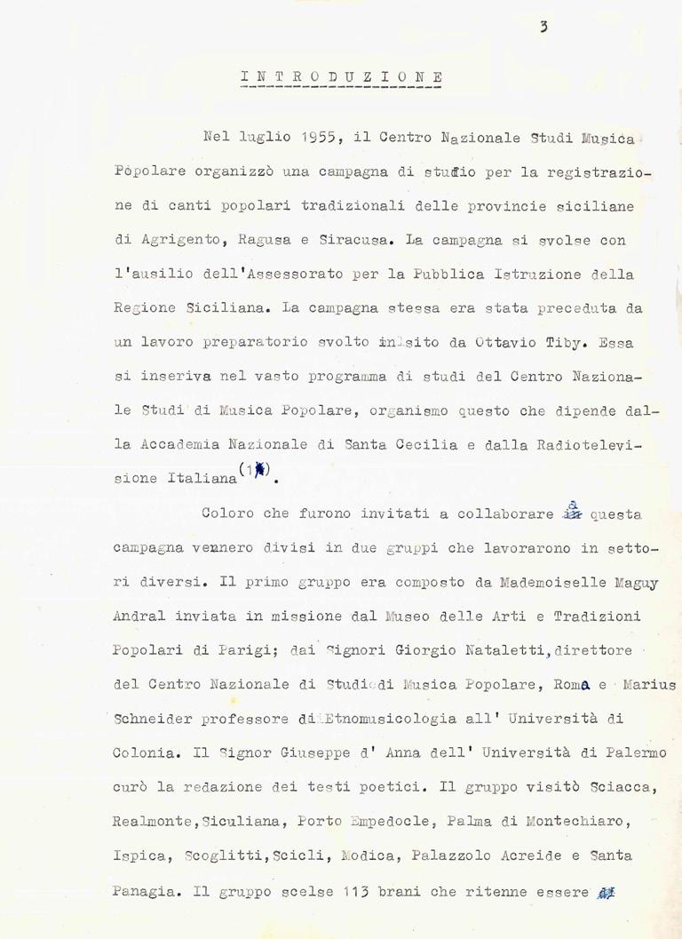 Frontespizio E Prima Pagina Del Dattiloscritto In Italiano Di Paul Collaer Musica Siciliana Pagina 2