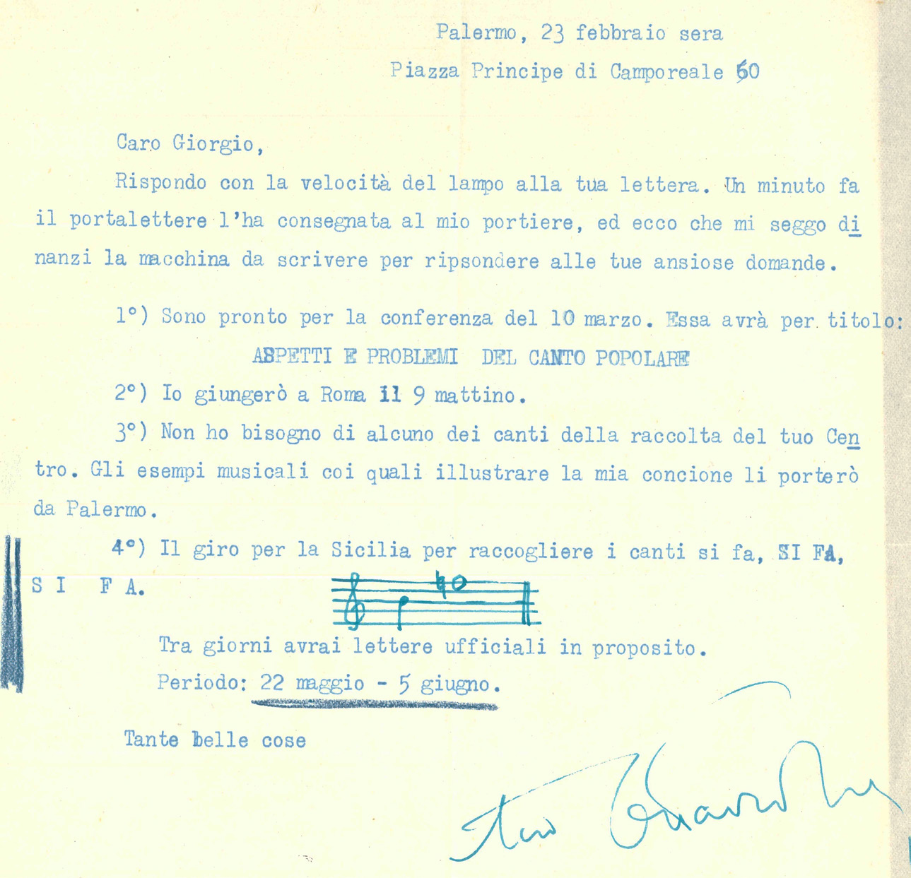 Lettera del 23 febbraio 1955 di Ottavio Tiby a Giorgio Nataletti