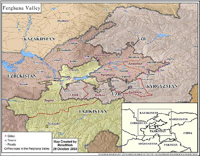 Map Of Ferghana Valley, Uzbekistan
