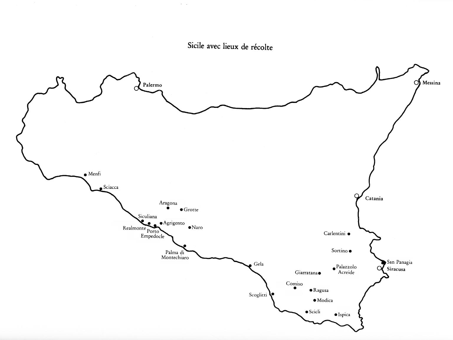 Mappa della Sicilia con le località visitate dai due gruppi