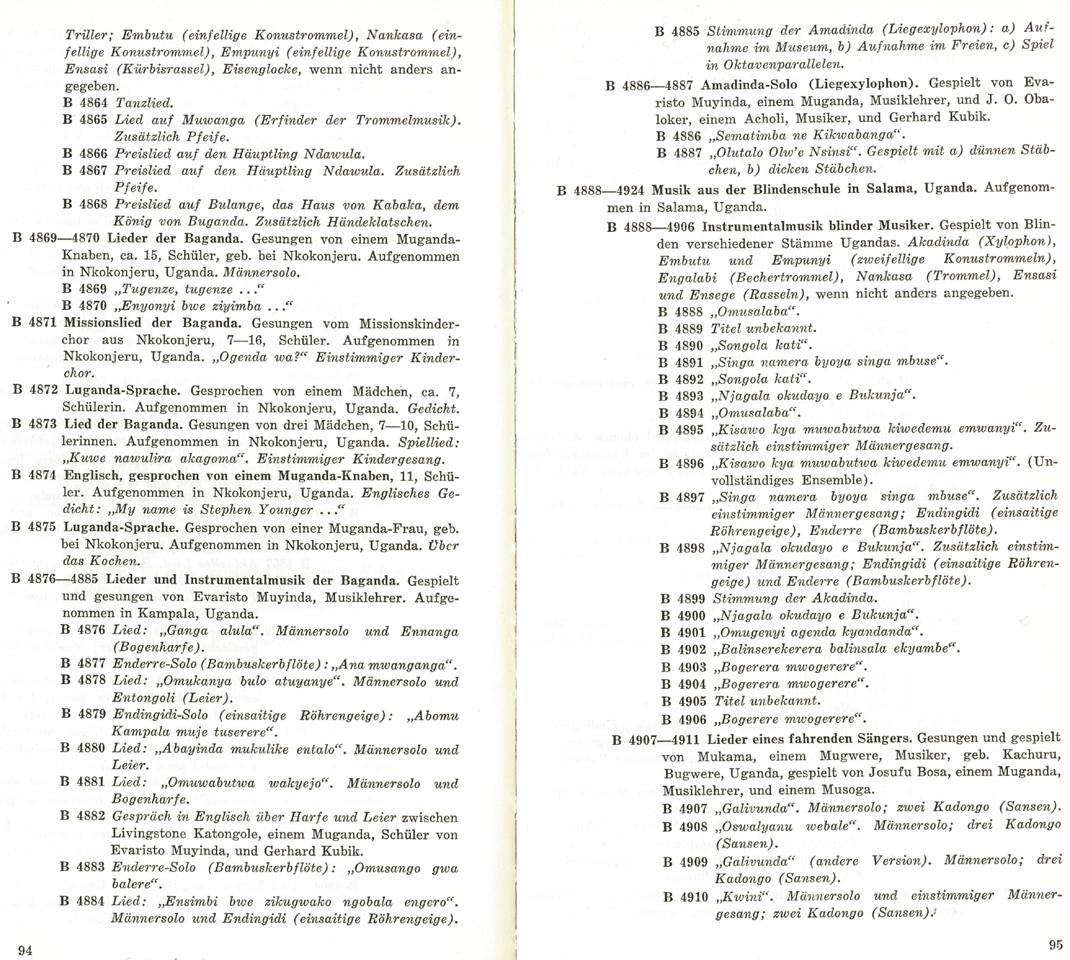 Photo Of The 1966 Catalogue Of The Recording (hermann, Schendl And Schüller 1966)