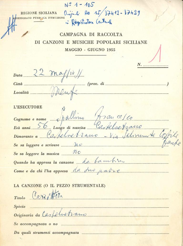 Scheda Da Campo Del Brano Raccolto A Menfi Il 22 Maggio 1955 Pagina1
