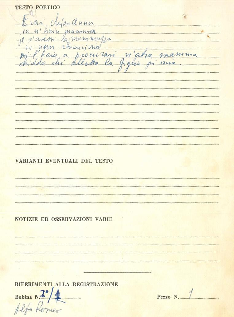 Scheda Da Campo Del Brano Raccolto A Menfi Il 22 Maggio 1955 Pagina2