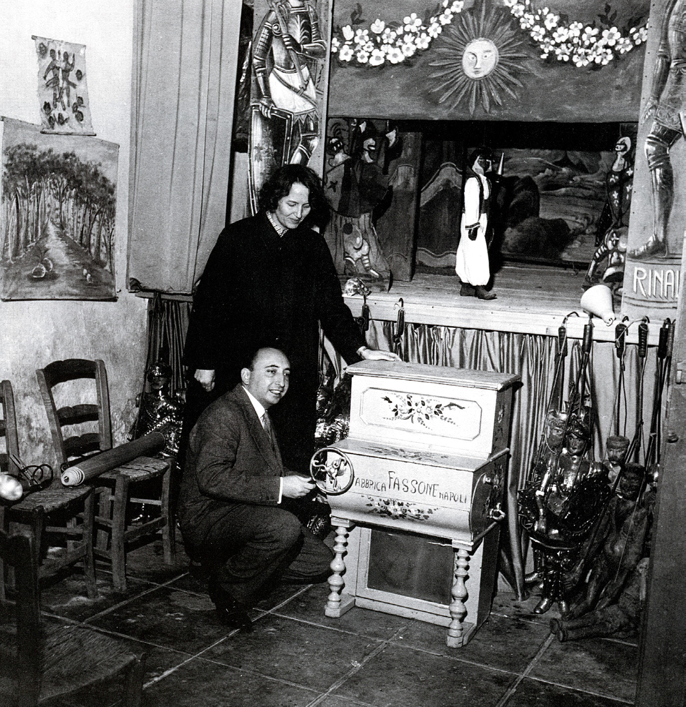 Antonio Pasqualino And His Wife Janne Vibaek In A Sicilian Puppet Theater (1960 Ca.)