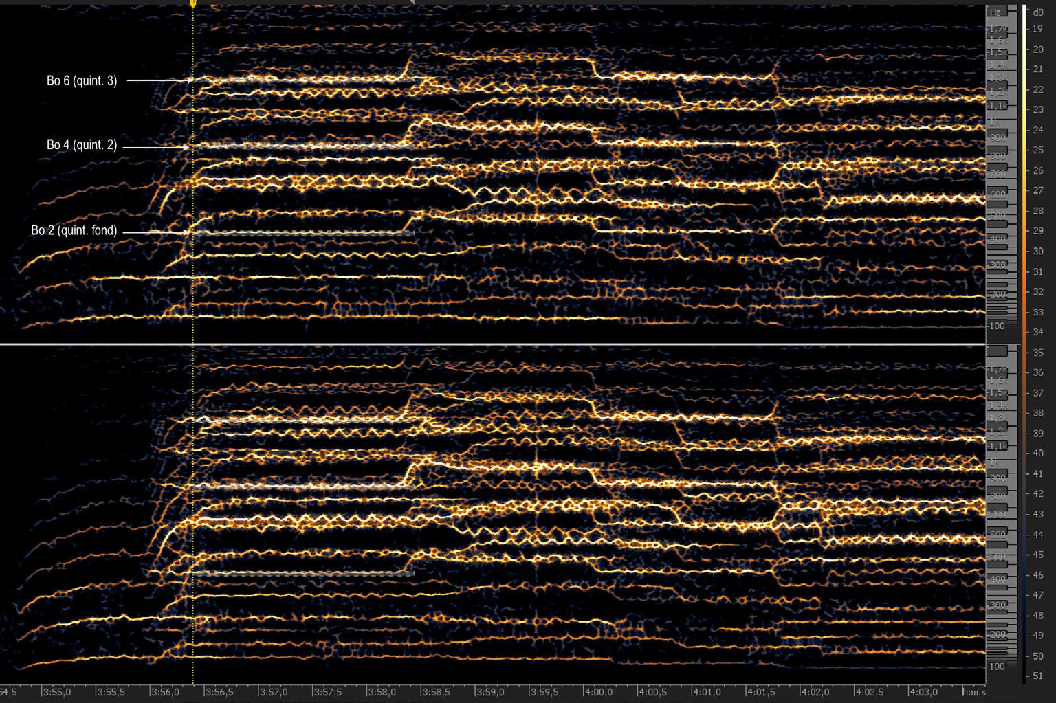 """FIGURA-3 a) Estratto dello Jesu dal minuto 3'56"""" ca., originale non modificato; b) lo stesso frammento con attenuazione artificiale"""
