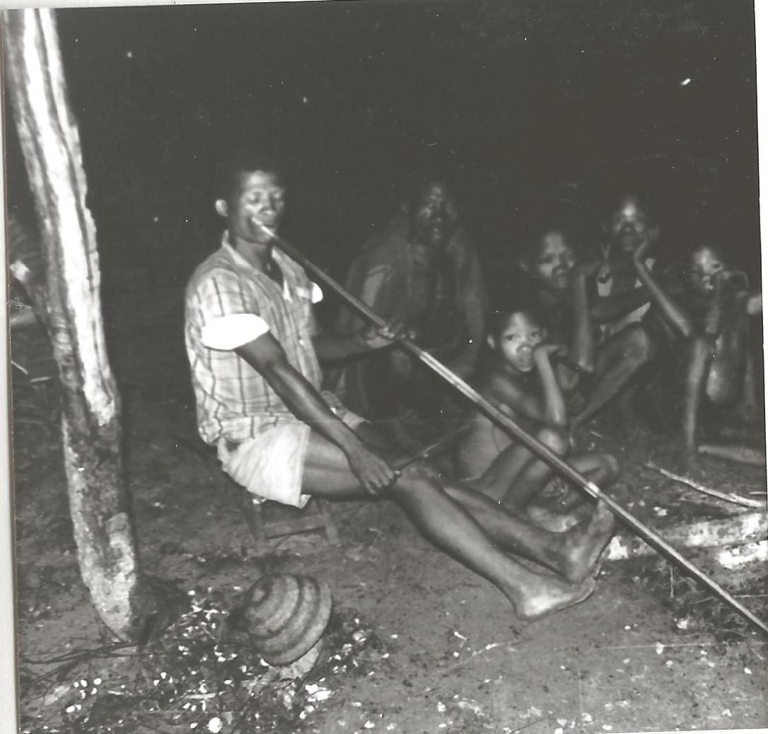 FIGURE 1(b). Hunting bow transformed into a mouthbow by !Kung' speaking performer Ndala Lupupa