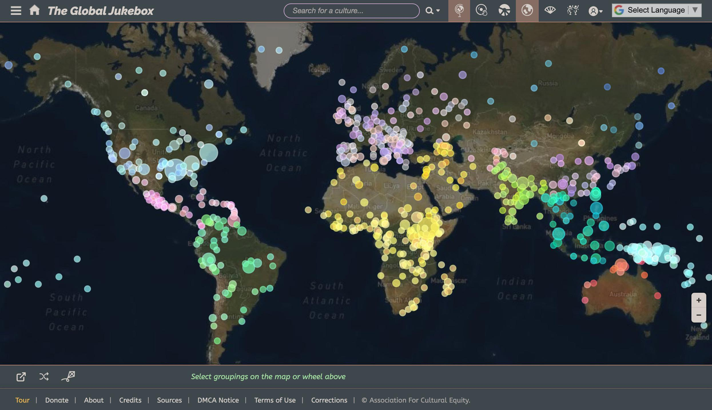 FIGURE 3. Screenshot of the interactive map in The Global Jukebox website