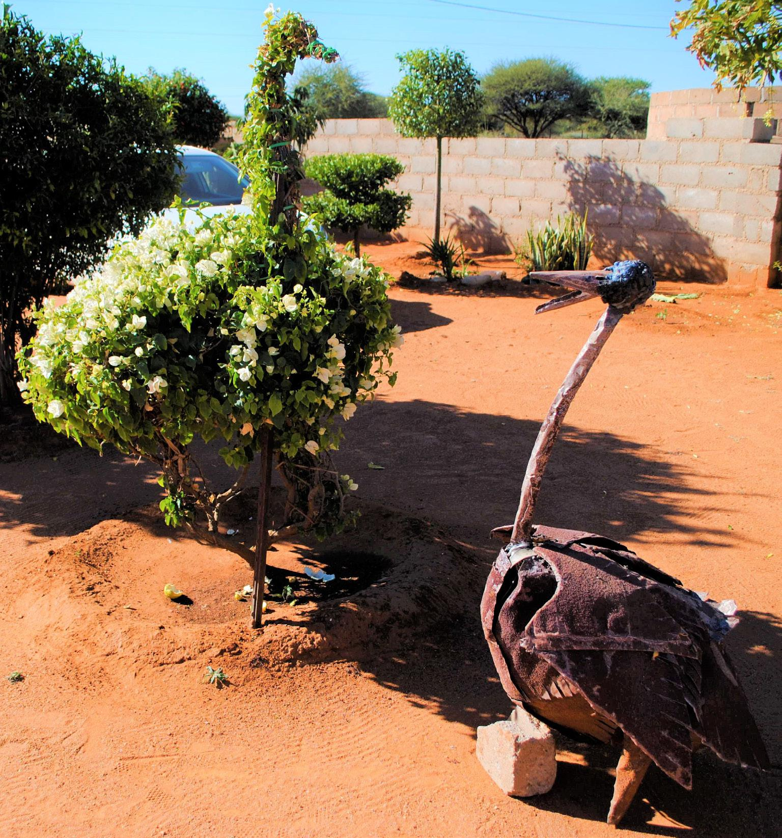 FIGURE 6. Two art creations in Sibongile Kgaila's garden (Thamaga, 2nd July 2018_photo S. Montaquila)