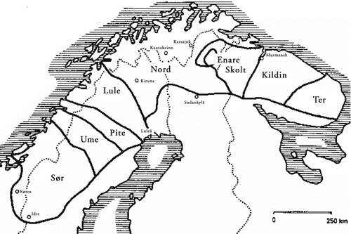 FIGURE 1. Sápmi borders according to the subdivision of Sami dialects (Ligi 2016: 222).