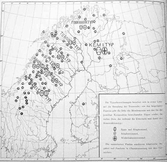 FIGURE 2. Map of the archaeological finds and regional variations of the drums cataloged by Manker in his 1950 monography.