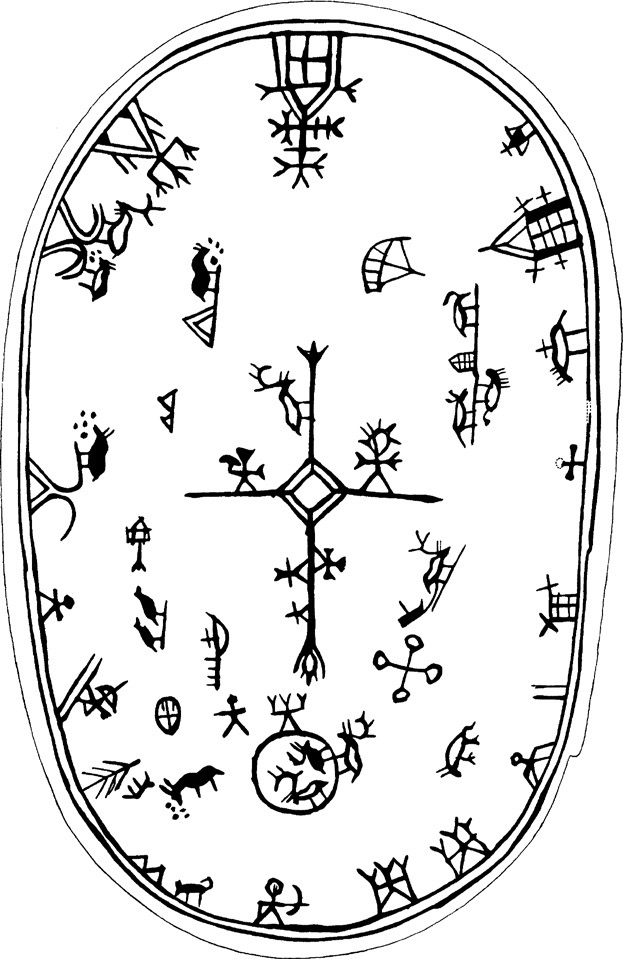 """FIGURE 7. Example of """"southern"""" drum's shape and figurative system represented on the membrane of Manker's Drum n. 30 (Manker 1938) found in Folddalen (Norway). Its first account dates back to 1727 (Henneberger Museum, Meiningen)."""