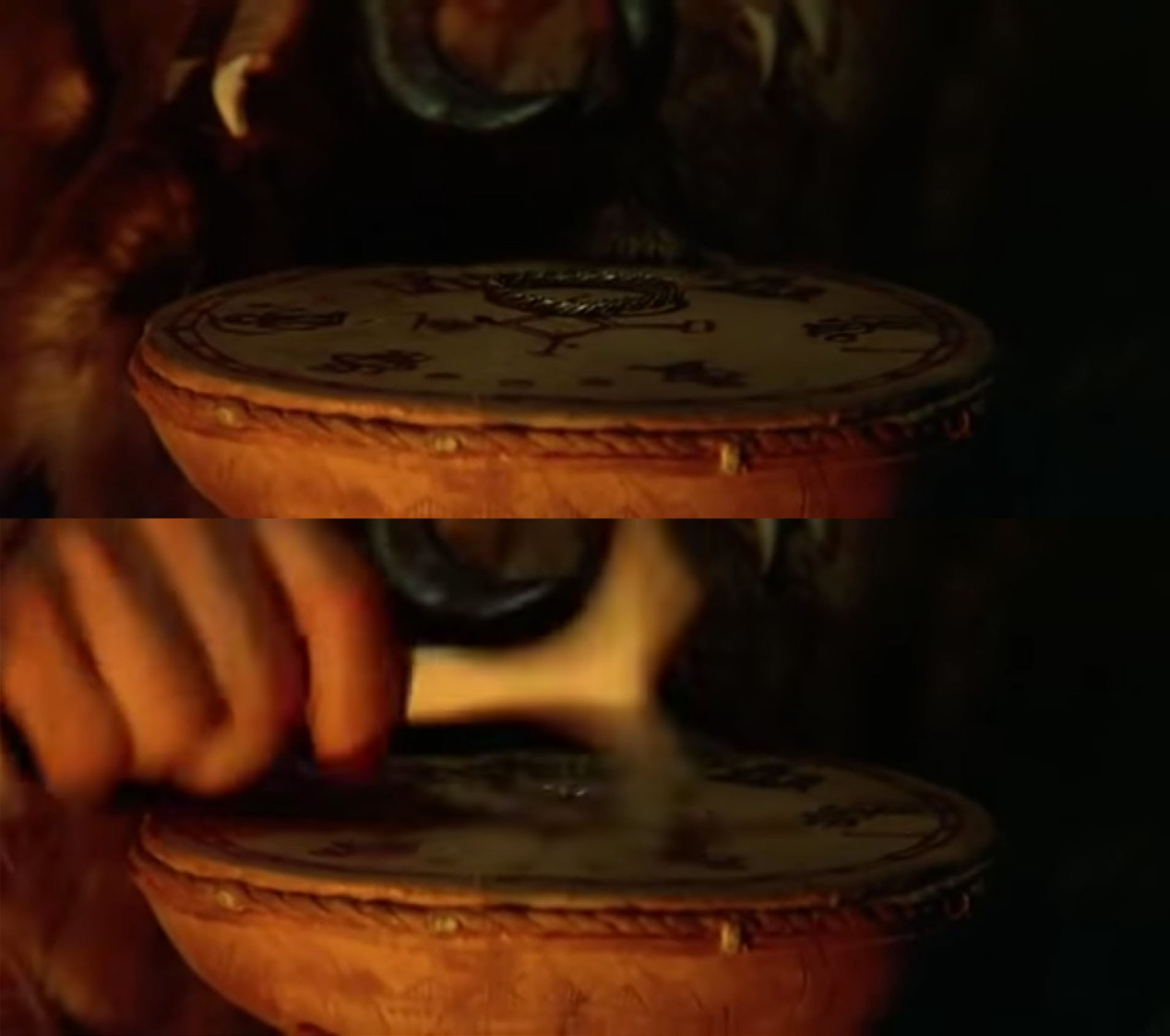 FIGURE 9. Frames from the Sami movie Ofelaš (Nils Gaup, 1987). The noaidi beats the drum to find out if the bear hunt would have taken place under good or bad omens.