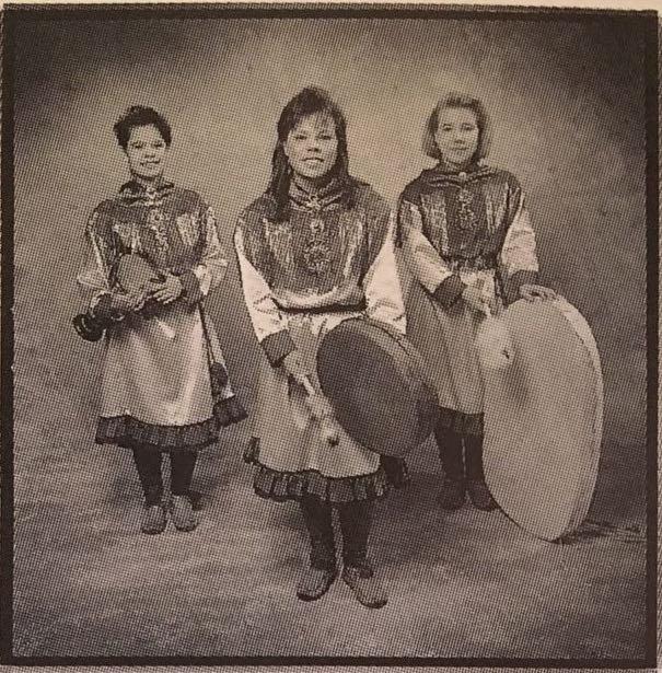 FIGURE 11. Angelit Tytöt trio (Ulla Pirrttijärvi, Ursula Länsman and Tuuni Länsman), in Angelit 1992 (booklet).