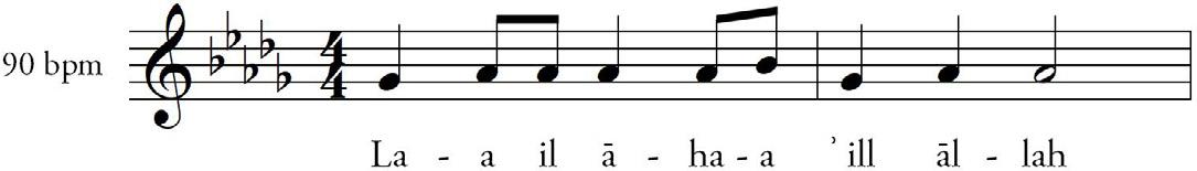 FIGURA 4. Modalità di esecuzione melodica del tahlīl.