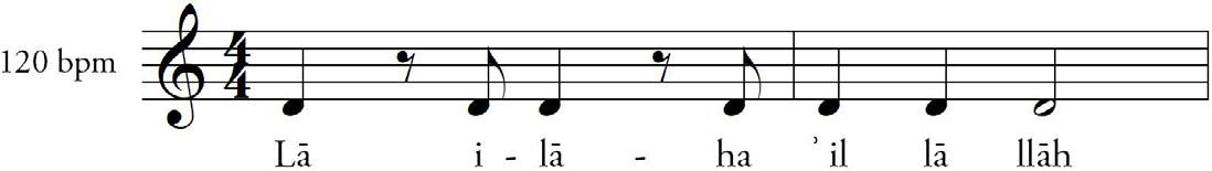 """FIGURA 5. Esecuzione """"qalbi"""" del tahlīl, in cui una ritmica netta si sostituisce alla melodia, mentre un contributo melodico elaborato viene fornito dagli esecutori di ilahi e kaside."""