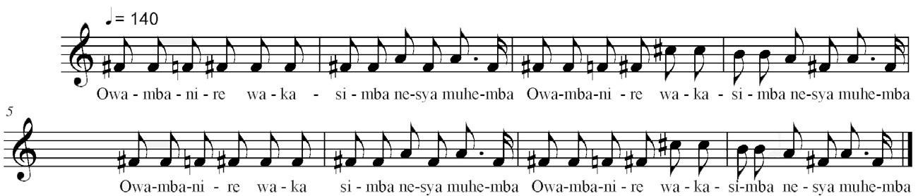 FIGURA 15. Trascrizione parte cantata Owambanire wakasimba nesya muhemba (Esempio audio 9, 09:06).