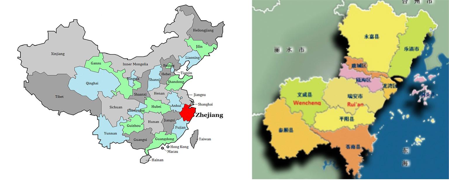 FIGURA 1. Nell'immagine a sinistra possiamo vedere in rosso la regione del Zhejiang. Mentre a destra possiamo vedere il dettaglio della prefettura di Wenzhou dove è presente la contea di Wencheng.