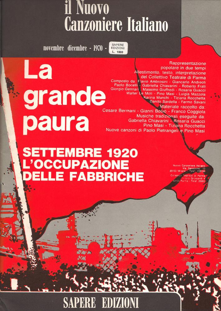 """FIGURA 3. Copertina della rivista """"Il Nuovo Canzoniere Italiano"""", novembre-dicembre 1970 (""""La grande paura. Settembre 1920: l'occupazione delle fabbriche"""")."""